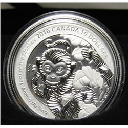 2016 Canadian $10 Fine Silver Coin Year of the Monkey