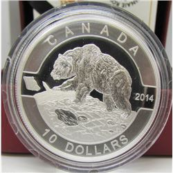 2014 Canada $10 Fine Silver Coin - Grizzly Bear