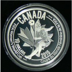 2015 Canadian $10 Fine Silver Coin FIFA Women's World Cup Heading the Ball