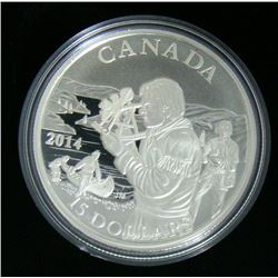 2014 Canada $15 Fine Silver Coin - Pioneering Mapmakers