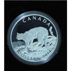 2014 Canada $20 Fine Silver Coin Cougar : Atop A Mountain