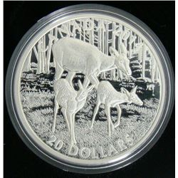 2014 Canada $20 Fine Silver Coin A Doe and Her Fawns