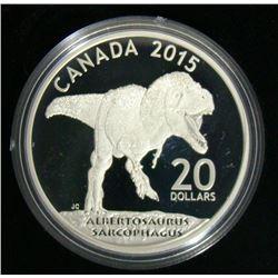 2015 Canada $20 Fine Silver Coin - Albertosaurus