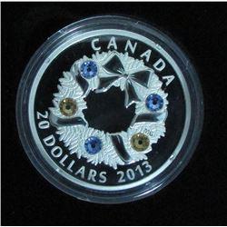 2013 Canada $20 Fine Silver Coin Holiday Wreath