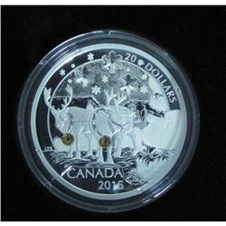 2015 Canada $20 Fine Silver Coin Holiday Reindeer