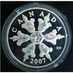 2007 Canada $20 Fine Silver Coin Crystal Snowflake
