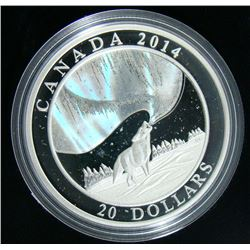2013 Canada $20 Fine Silver Coin - Howling Wolf