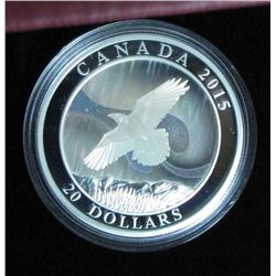 2015 Canada $20 Fine Silver Coin A Story Of the Northern Lights The Raven