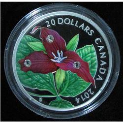 2014 Canada $20 Fine Silver Coin Red Trillium w Crystal Dew Drops