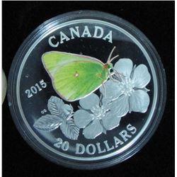 2015 Canada $20 Fine Silver Coin Butterflies of Canada Colias Gigantea