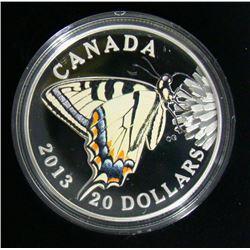 2013 Canada $20 Fine Silver Coin Butterflies of Canada