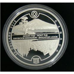 2015 Canada $20 Fine Silver Coin UNESCO At Home and Abroad Mount Fiji and Canadian Rockies