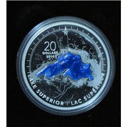 2014 Canada $20 Fine Silver Coin The Great Lakes: Lake Superior