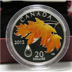2012 Canada $20 Fine Silver Coin - Maple Leaf with Crystal Raindrop
