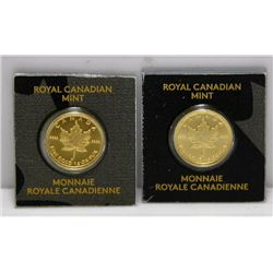 2 x 1 Gram 9999 Fine Gold Canadian Maple Leaf Bullion Rounds In Original Package