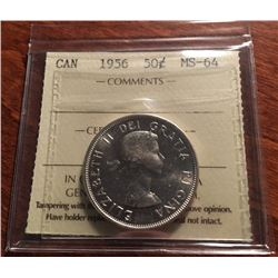 1956 Canada Silver ICCS Graded 50-Cent Half Dollar Coin - MS-64