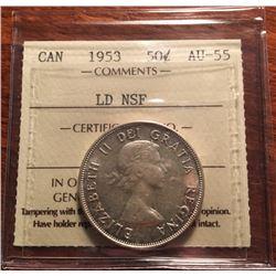 1953 Canada ICCS Graded Silver 50-Cent Half Dollar Coin - AU-55