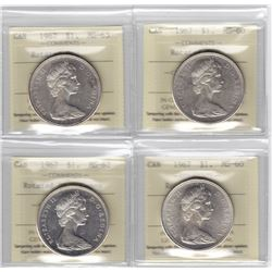 4 x 1967 Canada ICCS Graded Silver $1 Dollar Coins - MS-60 - MS-63 (ROTATED DIES)