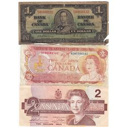 3 Different Bank of Canada Bank Notes - 1937 - 1986