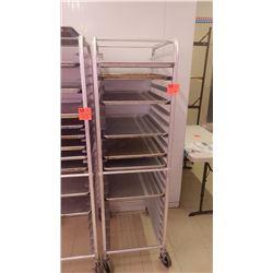 SHEET PAN SHELF WITH WHEELS AND SEVEN SHEET PANS