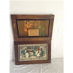 PAIR OF OAK FRAMED ENGLISH ARTS AND CRAFTS STYLE MOTTO