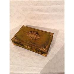 ART NOUVEAU STYLE BRASS BOUND VICTORIAN VANITY BOX