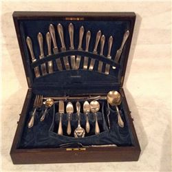 OAK CASED COMMUNITY PLATE CUTLERY SET ABOUT 54 PIECES