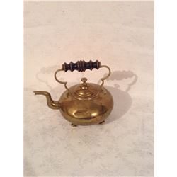 LARGER SIZE VICTORIAN BRASS BRIDES KETTLE WITH TURNWOOD