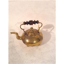 SMALLER SIZE VICTORIAN BRASS BRIDES KETTLE WITH TURNWOOD