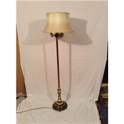 MARBLE BASED TRI-LIGHT FLOOR LAMP WITH SILK SHADE