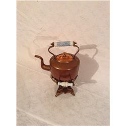 VERY NICE TWO PIECE COPPER KETTYE WITH WARMER STAND