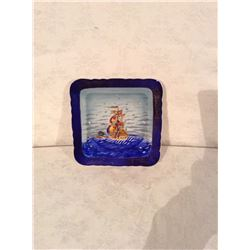 HAND DECORATED DISH WITH SAILBOAT MOTIF