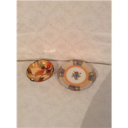 HAND DECORATED NORITAKE BOWL AND SERVING PLATE