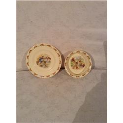 TWO DOULTON BUNNYKINS BABY DISHES