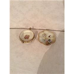 TWO HAND DECORATED NIPPON DRESSER DISHES