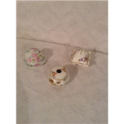THREE HAND DECORATED COVERED VANITY DISHES