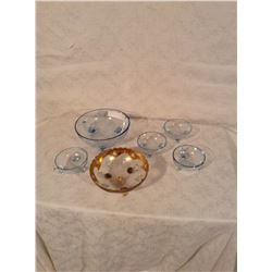 FIVE PIECE GLASS BERRY SET AND HAND DECORATED BOWL