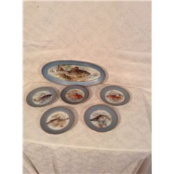 CONTINENTAL HAND DECORATED FISH SERVICE SET