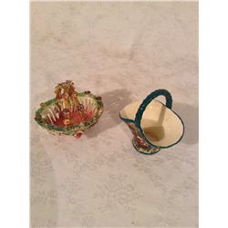 TWO HAND DECORATED BASKETS