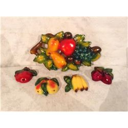 COLLECTION OF FAVOR WARE CHALK WARE WALL HANGINGS FRUIT