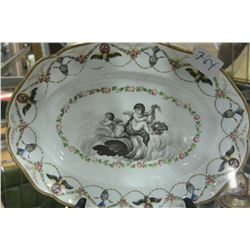 EXCEPTIONAL HAND DECORATED ENGLISH SERVING ASHET C.1880