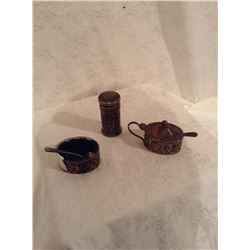 THREE PIECE STERLING SILVER CONDIMENT SET