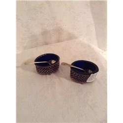 PAIR OF STERLING SILVER SALTS WITH COBALT LINER AND SPOON