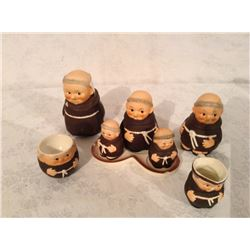 """COLLECTION OF """"MONK FIGURE"""" CONDIMENT PIECES"""