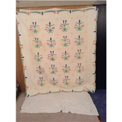 """74""""x84"""" HAND STITCHED TULIPS DECORATED QUILT"""
