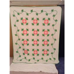 """77""""x94"""" HAND STITCHED POPPY DECORATED QUILT"""