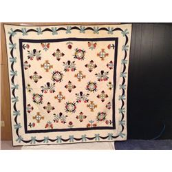 """83"""" SQUARE HAND STITCHED FLORAL+RIBBON DECORATED"""