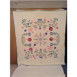 """76""""x83"""" HAND STITCHED FLORAL+VASE DECORATED QUILT"""