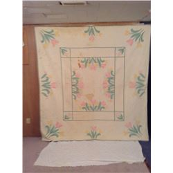 80x83 HAND STITCHED FLORAL DECORATED QUILT (STAINED)