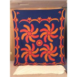 80x93 HAND STITCHED FEATHER PINWHEEL DECORATED QUILT